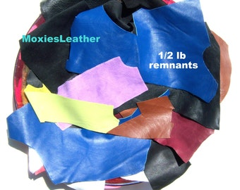 leather remnants pieces blue green blue, half a pound of leather remnants  #110 large sizes and small