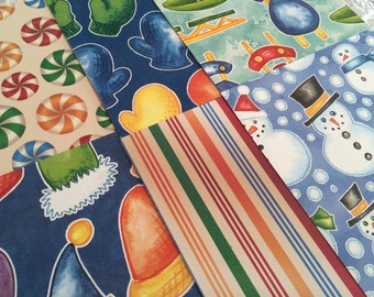 Winter Scrapbook Paper Pack, Snowman, Hats and Mittens, Bright Colors, 6x6 Paper Stack - 22 Sheets