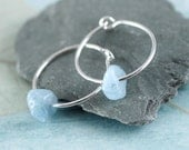 Sterling Silver Hoops with gemstones. Aquamarine and silver Earrings