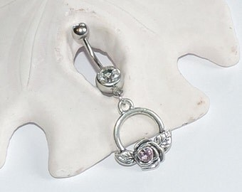 Belly Button Ring - Dainty Belly Button Jewelry - Silver Rose Dangle Belly Rings - Swarovski Crystal Pink Rose Belly Ring - ONLY ONE