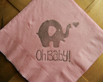Oh Baby Elephant with Tiny Heart Baby Shower Light Pink Cocktail Napkins Gender Neutral Baby Girl or Baby Boy in Gray ink- Set of 50