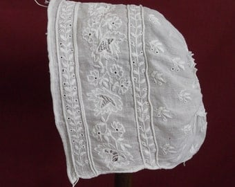 Antique c.1800-1840s Baby's Cap with Cording and Needlework Fillings - Collector's Piece