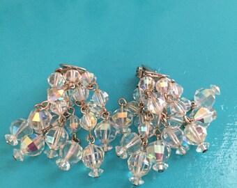 Crystal Waterfall 50's Aurora Borealis Clip Earrings AB Earrings