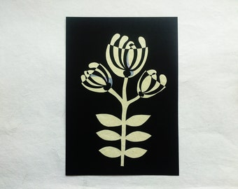 original paper collage inlay mosaic mid-century style flower art - A4 size