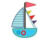 Sailing Ship Applique Machine Embroidery Design for Baby Happy Birthday Free Edge Applique DE029