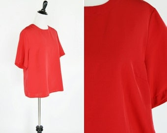 Clearance Vintage 1980's Short Sleeve Red Blouse- Casual Red Top- ladies size medium