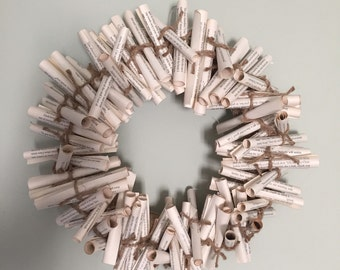 Scroll Style Book Page Wreath (small)