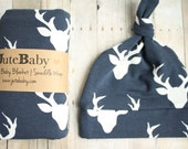 Deer Baby Blanket: Buck Mount Dark Navy || by JuteBaby