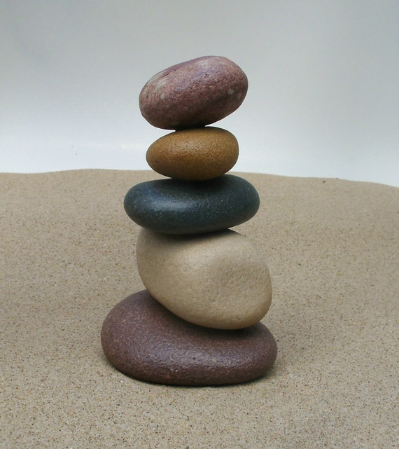 Lake michigan south haven stacked beach stone cairn sculpture