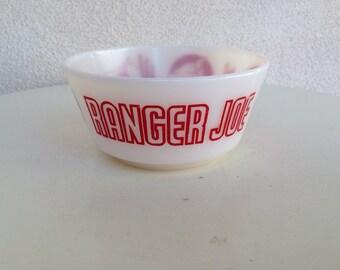 Sale Vintage kitsch 1950s Ranger Joe milkglass bowl by Hazel Atlas
