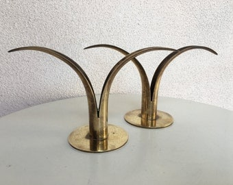 Vintage mid century modern lily brass candleholders The Stonst Sweden made set 2