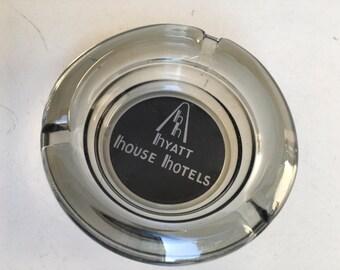 Vintage Ashtray smokey round glass Hyatt House Hotels souvenir
