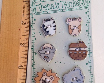 Vintage ceramic buttons 6 New on card Noah's Ark by Trena's Trinkets 1""