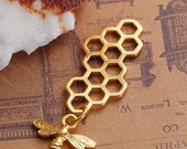 2pc Gold Plated Honeycomb With Bee Charm - 46x16mm - Honey, DIY Necklace, Jewelry Making Supplies, Jewelry Finding, Ships from USA -N40