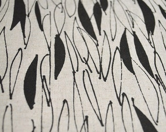 Eucalyptus in Velvet Black : organic linen / organic cotton handprinted fabric panel