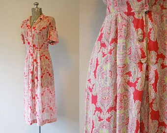 1950's Pink Print Voile Day Dress / Size Small/Medium