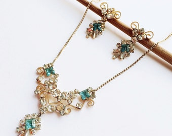Vintage Rhinestone Necklace & Earring Set, Phyllis/ Scitarelli Necklace Demi, Aqua Rhinestone, Bridal Jewelry