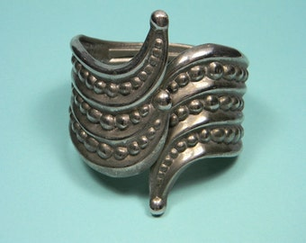 Bold Silver Tone Clamper Bracelet, Beaded Metal Work Accents