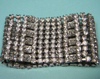 Classic Rhinestone Bracelet, Clear, Extra Wide, Elegant Vintage
