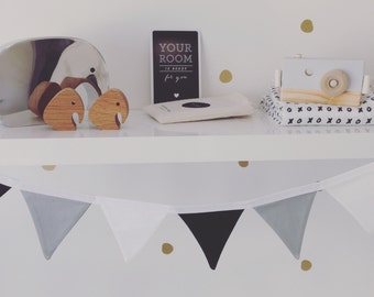 the mini max - small black, white and grey fabric flag banner bunting