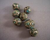 Antique Inlaid Turquoise Mosaic Tibetan Beads SOLD TO FLIP
