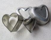 Heart Valentine Cooky Cutter Tart Jello Mold Tin Cookies Vintage Wedding Valentine's Day Wedding Bridal Shower Baking Crafts