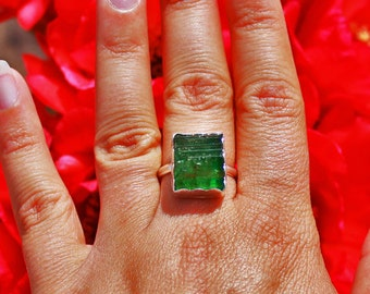 Green Tourmaline Handmade Sterling Silver Ring