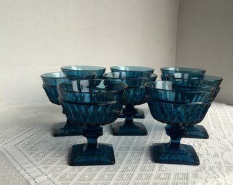 Vintage Colony Park Lane Sherbet Glasses / Blue Cut Glass Stemware by Indiana Glass
