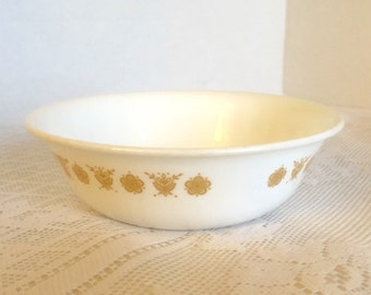 Vintage Corning Ware Corelle Cereal Bowl in Butterfly Gold White Glass