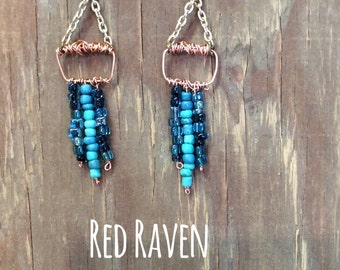 Red Raven, turquiose earrings