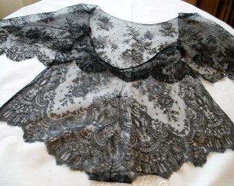 Antique Chantilly Bib Collar Blouse Top Gorgeous