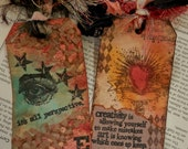 """2 LARGE ART TAGS Mixed Media One-of-a-kind """"It's All Perspective"""" and """"Creativity is..."""""""