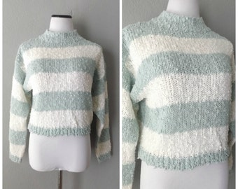 Crop Stripe 80s Sweater Blouse Vintage Boucle Pullover Top Medium Large Short Knit Shirt Hipster Boho Dress 1980s Blue Gray White Striped