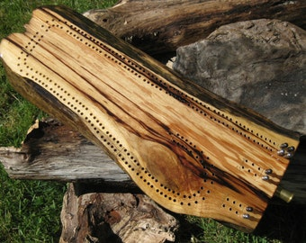 Driftwood Cribbage Board