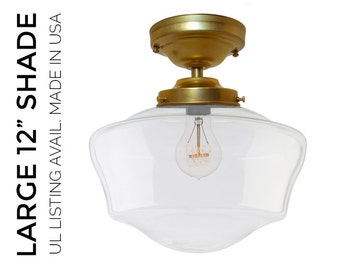 Hand Blown Glass Schoolhouse Pendant Light- MADE IN USA- Brass