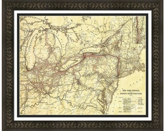 MAP of New York Central RAILROAD in a Vintage Grunge Weathered Antique style