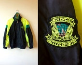Rare 90s Givenchy Black & Neon Yellow Windbreaker Mens Small