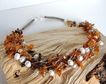 Natural Baltic Amber, natural river pearls, Linen  Necklace, hand made, 925 Silver,  BUSTANI