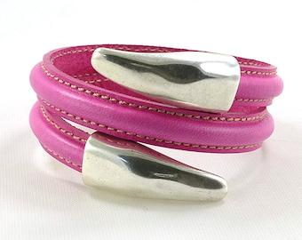 Open Cuff Bracelet, Pink Bracelet, Spiral Bracelet Cuff, Pink Leather Cuff, Leather and Silver Bracelet, Fashion Bracelet, Fashion Jewelry