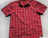 Vintage Levi's Shirt Plaid Red Black White  Men;s Levis Clothing Size : Large