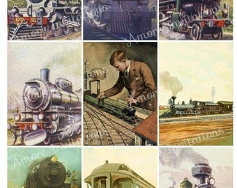 Printable Vintage Steam Trains / Locomotive Digital Collage Sheet / Father's Day - JPEG - PDF - Instant Download - Downloadable - Cu use