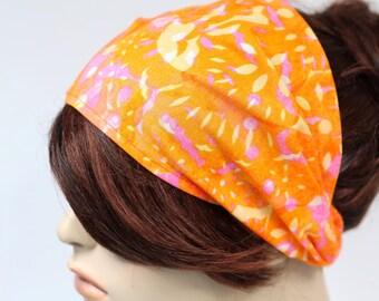 Orange Faux Batik Fabric Festival Headband Gypsy Head Wrap Womens Headband Bandana Dread Wrap Hair Accessory Womens Gift for Her