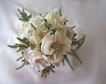 Wedding flower bouquet, ivory cream,  with gold glitter berries, roses, cherry blossom, rhinestone sparkle, alternative,  keepsake decor
