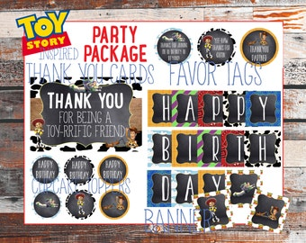 Toy Story Birthday Package. Toy Story Party. Toy Story theme. Toy Story Party. Thank you Cards. Favor Tags. Cupcake Toppers. Banner.