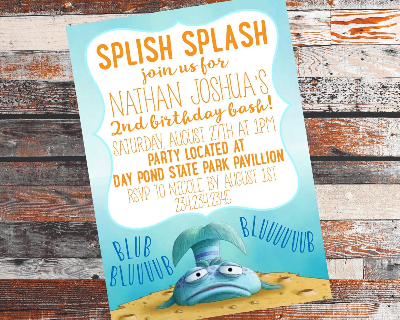Pout pout fish birthday party pout pout fish invitation pout for Fish birthday party