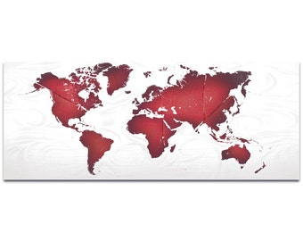Abstract World Map 'Red White Land and Sea' by Eric Waddington - Urban Wall Art Cartography Artwork on Metal or Acrylic