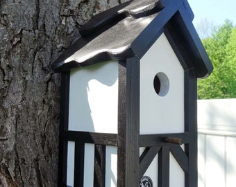 Painted Bird house/Nesting Box, black and white birdhouse,outdoor use, easy clean, Black roof Tudor style- Made in USA fully functional