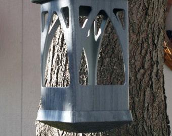 Bird feeder modern Outdoor Birdfeeder PVC decorative woodgrain style- no assemble required hanging Birdfeeder -tray style- Made in the USA