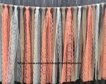Rustic Charm Barn Wedding Burlap and Coral and Ivory Lace Garlands, Swag,  Lace Curtain, Shabby Chic hanging wedding decoration, backdrop