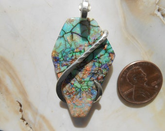 BEAUTIFUL Sterling Opal Silver Wrapped Pendant